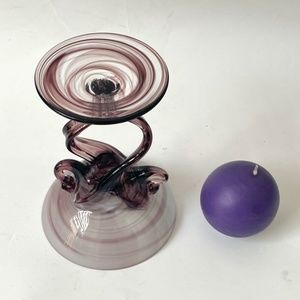 Accents - Purple Glass Candleholder and a Candle